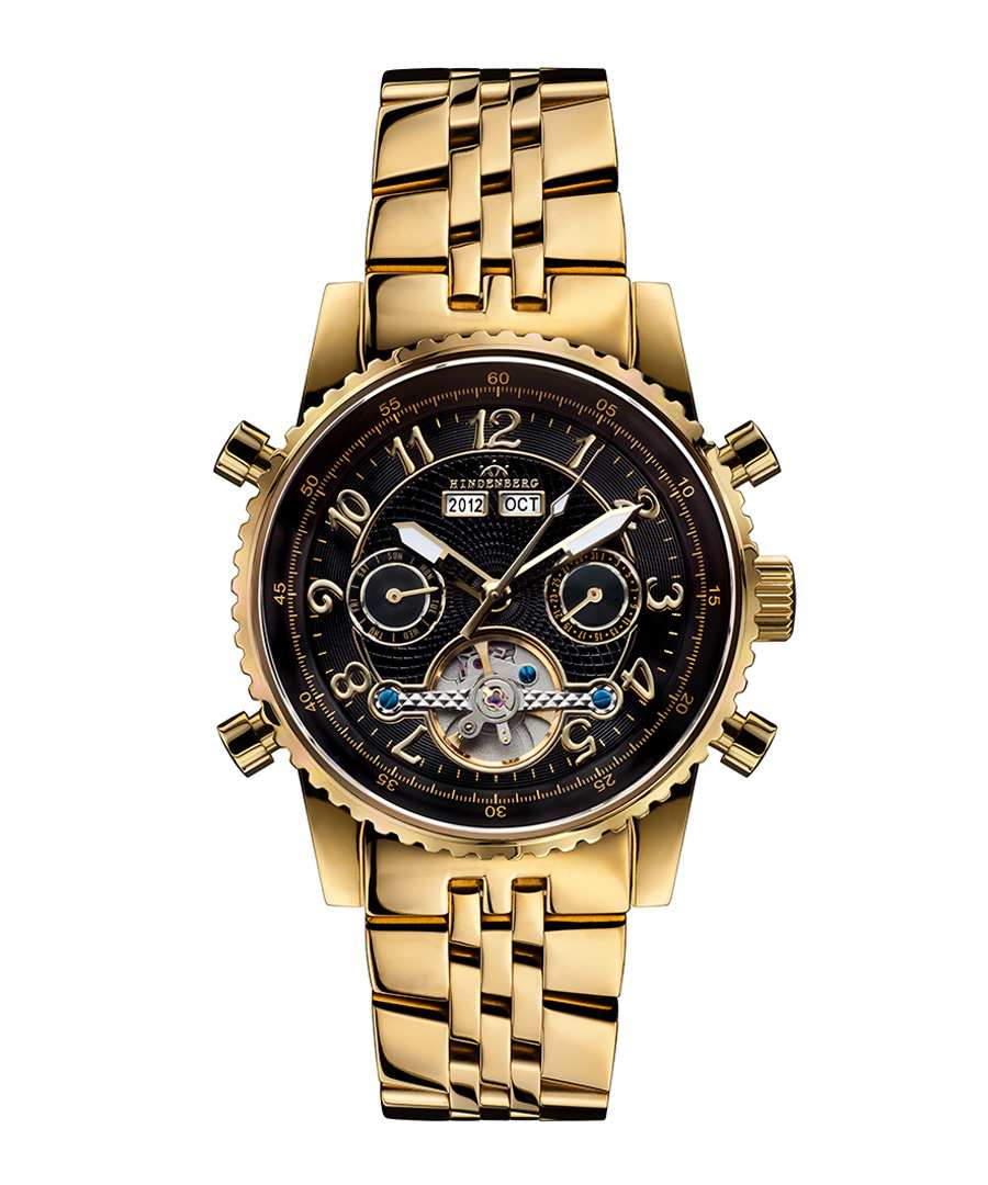 Air Professional gold-tone black watch Sale - hindenberg