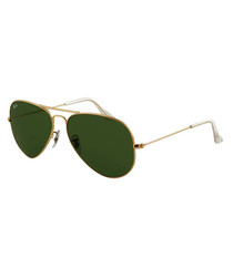 Aviator gold-tone & green sunglasses