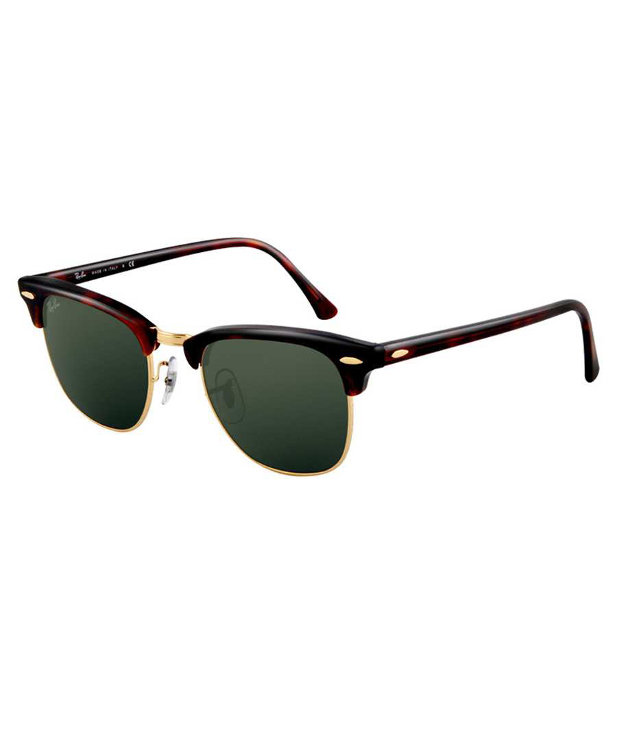 Clubmaster brown demi-frame sunglasses Sale - ray-ban
