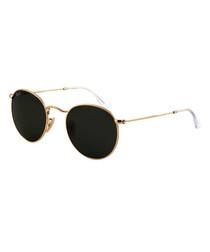 Round gold-tone & black sunglasses