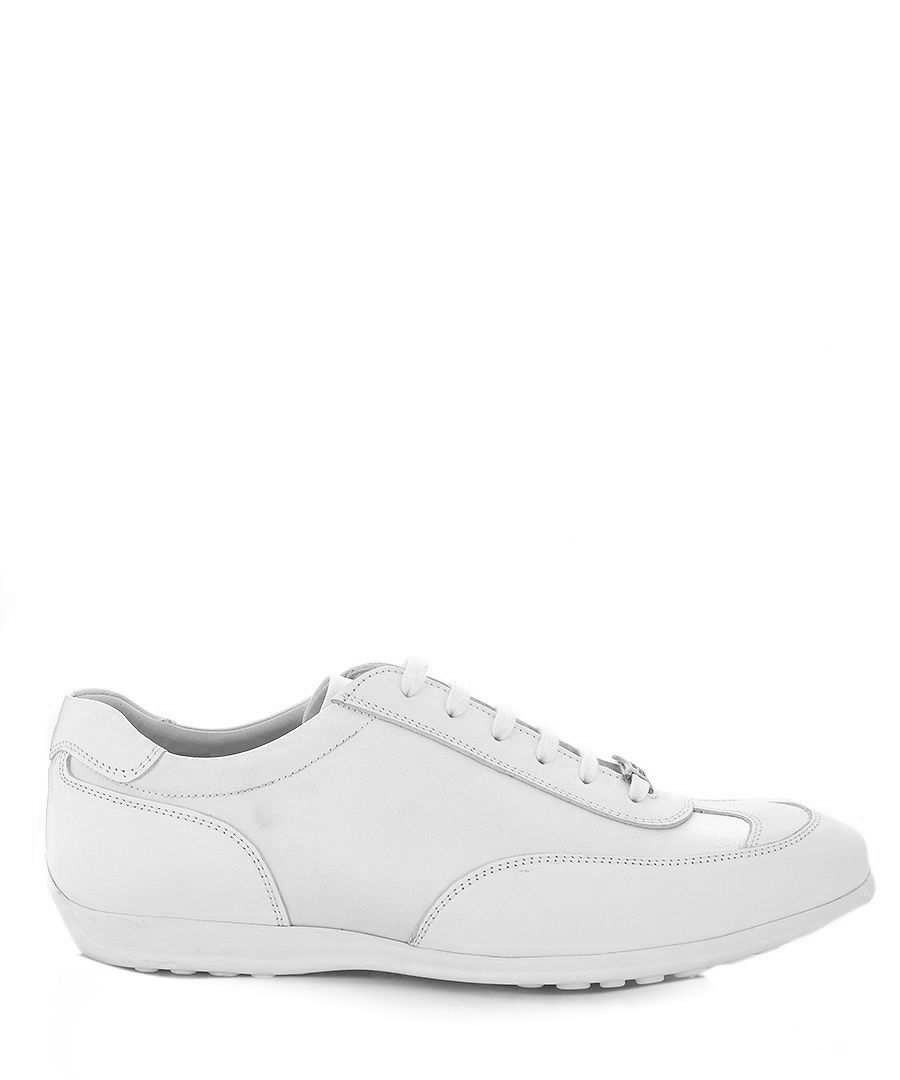 White satin & leather sneakers Sale - versace