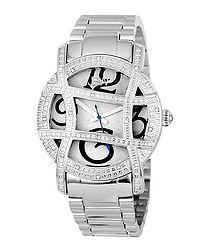 Olympia silver-tone diamond bezel watch