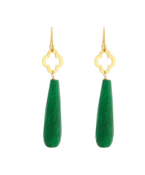 Jade 18ct gold-plated drop earrings