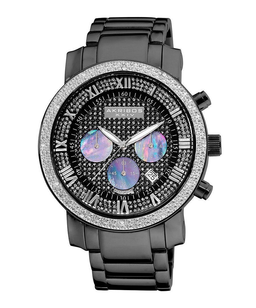 Black diamond chronograph watch Sale - akribos XXIV