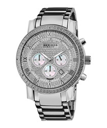 Silver-tone diamond bezel steel watch