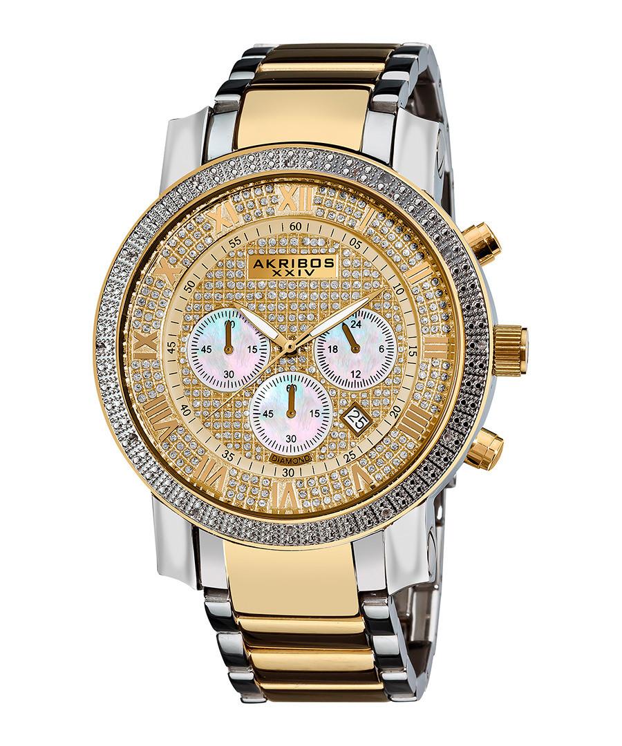 Two-tone diamond bezel watch Sale - akribos XXIV