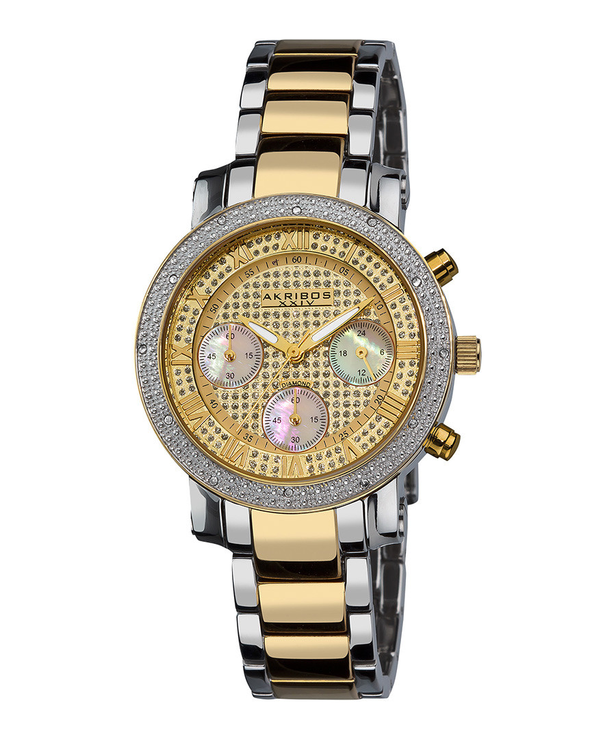 Two-tone diamond bezel bracelet watch Sale - akribos XXIV