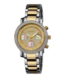 Two-tone diamond bezel bracelet watch