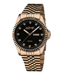 Rose gold-tone diamond watch