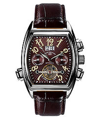 Royale Date brown leather watch