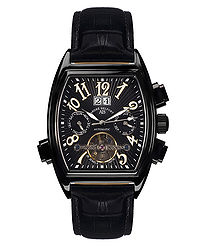 Royale Date black leather watch