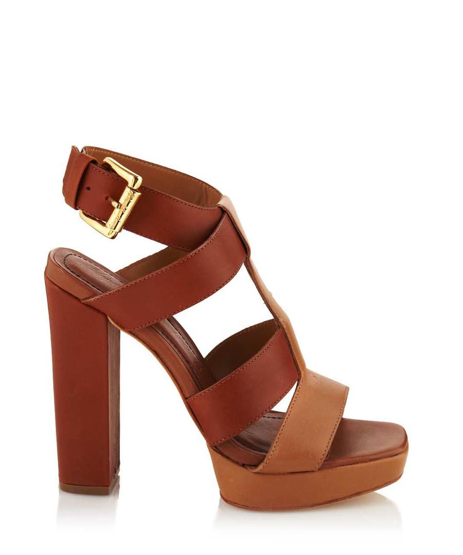 Sam block heel sandals in tan Sale - Elizabeth and James