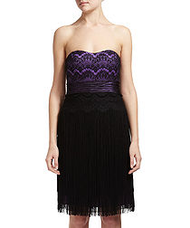 Laced and fringed dress in purple