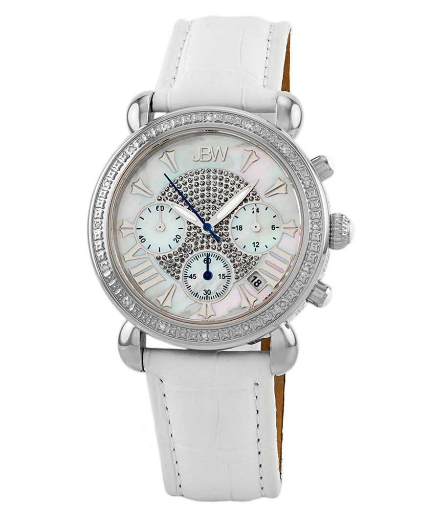 Victory white leather & diamond watch Sale - jbw