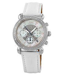 Victory white leather & diamond watch
