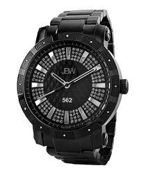 Black round diamond watch