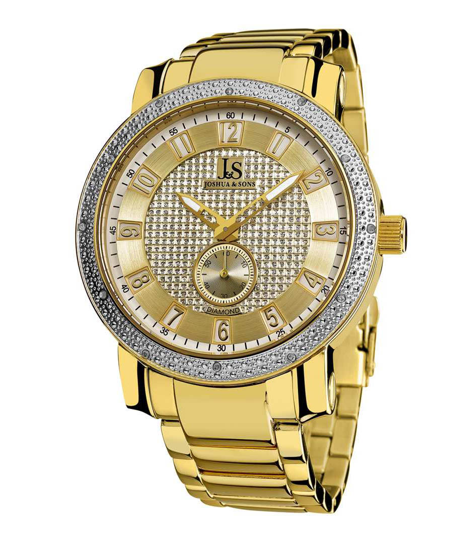 Gold-tone crystal bezel quartz watch Sale - Joshua & Sons