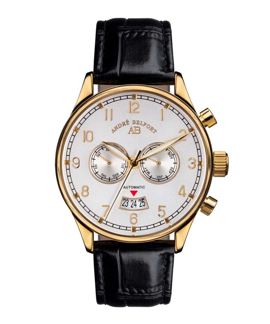 Discount Calendrier white & black leather watch