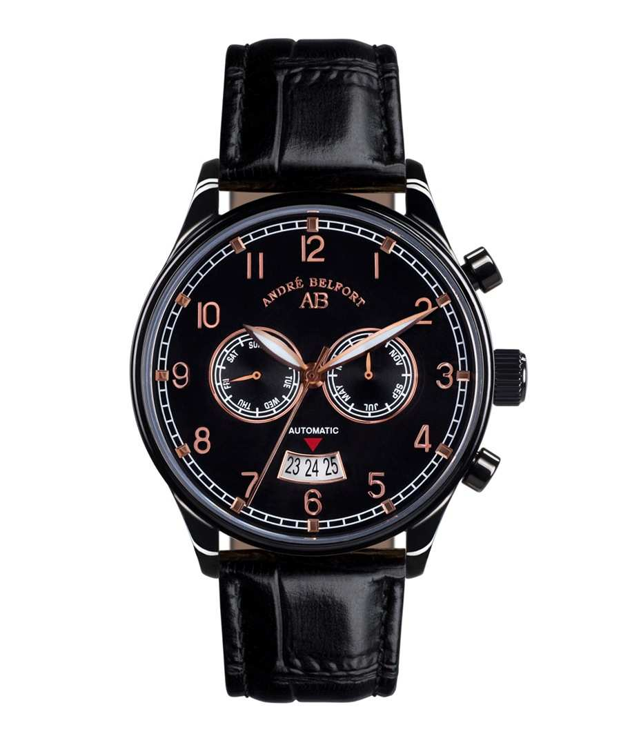 Calendrier black & leather watch Sale - andre belfort