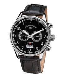 Calendrier black & leather watch