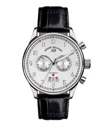 Calendrier black leather watch