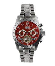 Galactique red dial steel watch