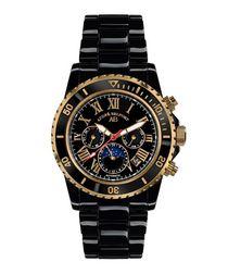 Sirene black & gold-tone steel watch
