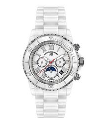 Sirene white & silver-tone steel watch