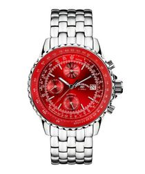 Universe red & silver-tone steel watch