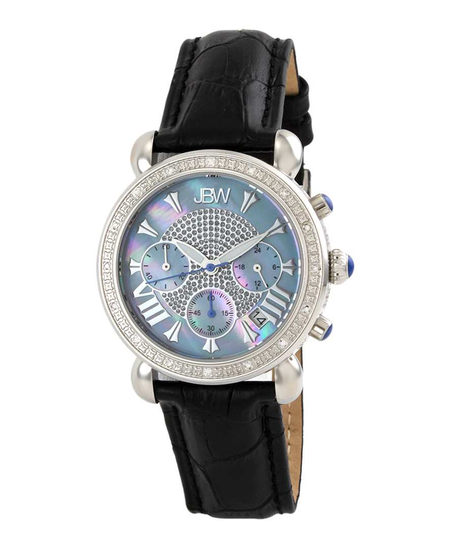 Victory diamond & black leather watch Sale - jbw