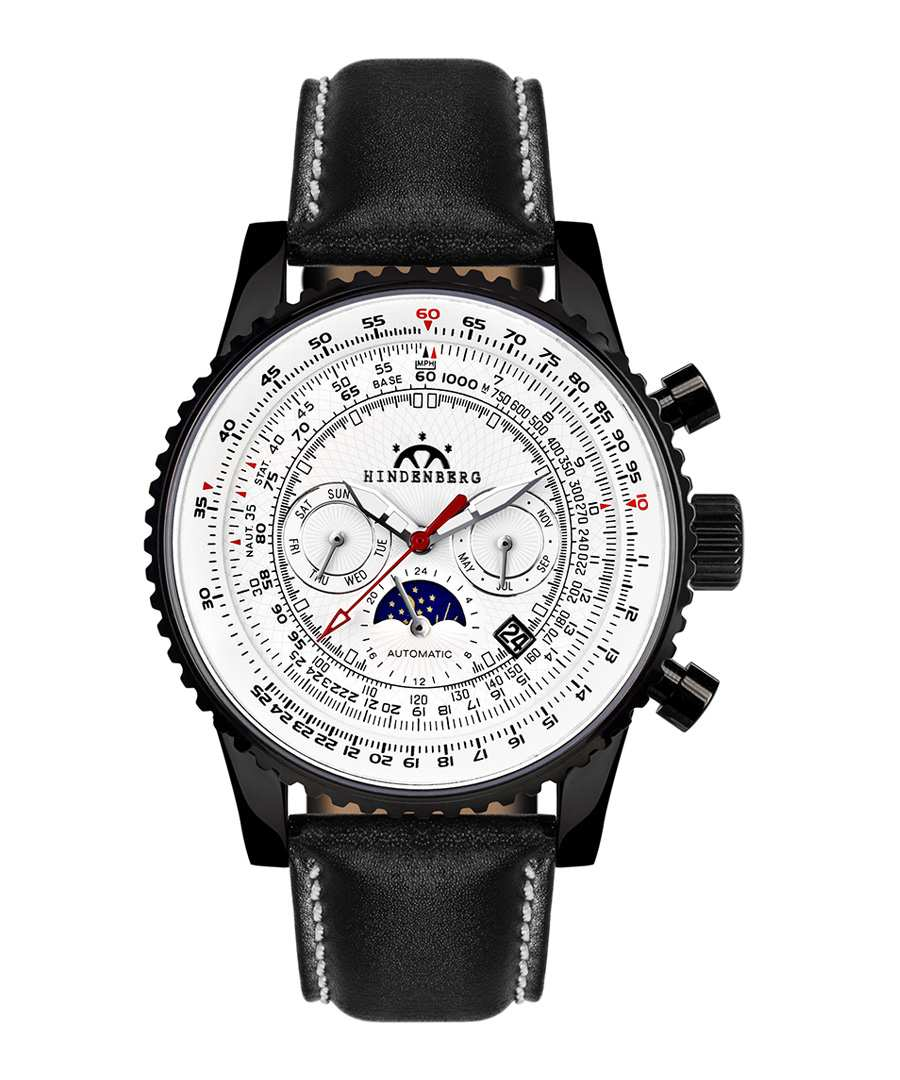 Air Fighter white dial leather watch Sale - hindenberg