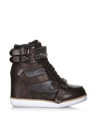 53d1dac8178 Bonn black leather wedge trainers Sale - Jeffrey Campbell Sale