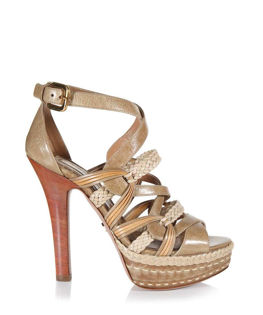 Beige plaited leather heels Sale - Prada