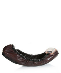 Women's brown leather embellished flats
