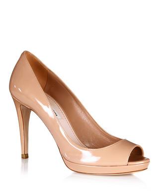 a0e5c856f75 Miu Miu. Powder pink leather peep toe heels