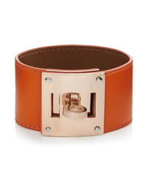 18ct rose gold-plated & leather bracelet