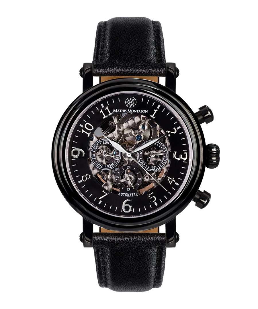 Skeleton black dial leather watch Sale - mathis montabon