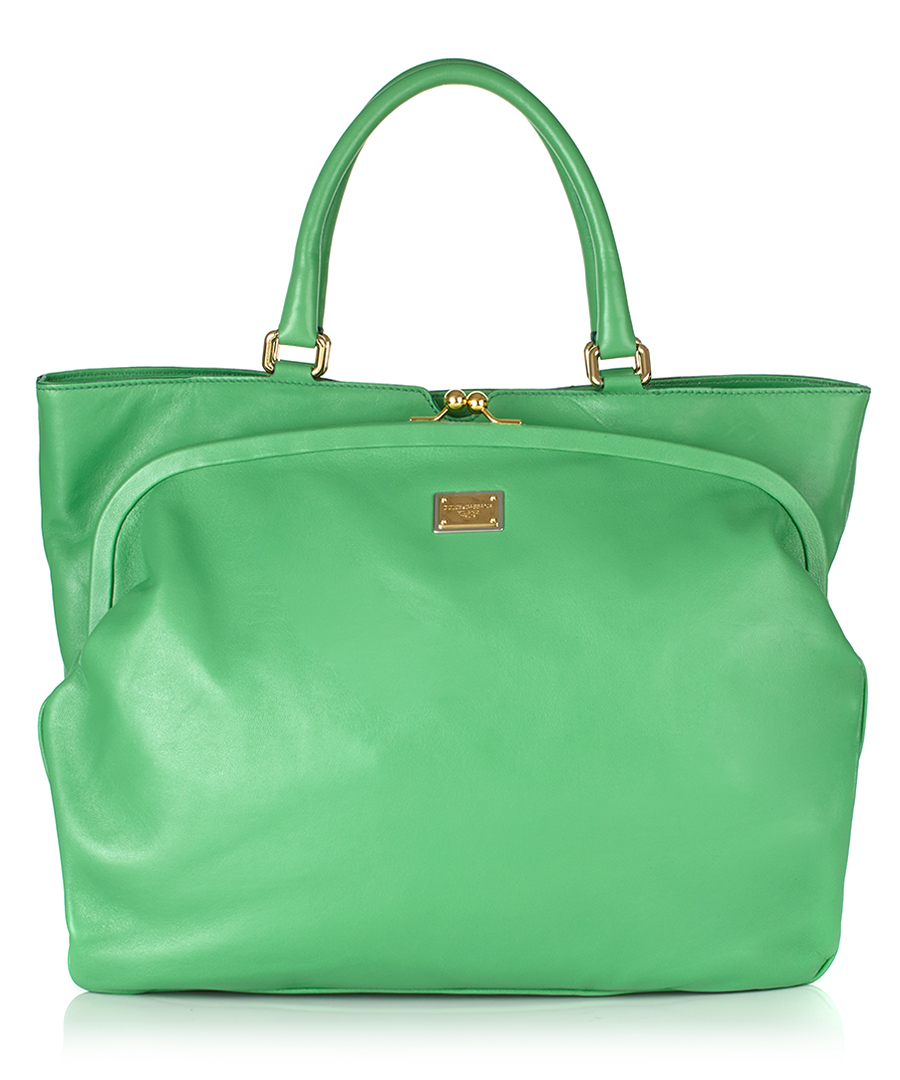Green kid leather shopper bag Sale - Dolce & Gabbana