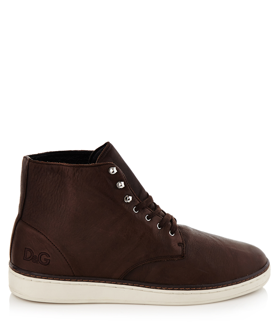 Dark brown leather trainers Sale - D&G