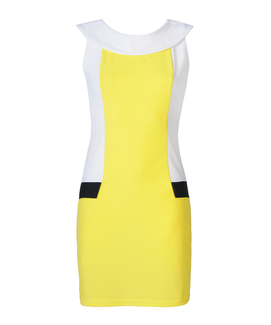 Optical slimming yellow and white dress Sale - YNNY