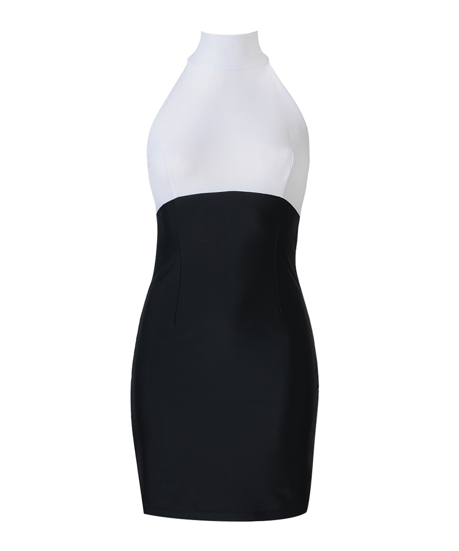Monochrome sleek turtleneck dress Sale - YNNY