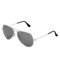 Aviator silver-tone mirrored sunglasses