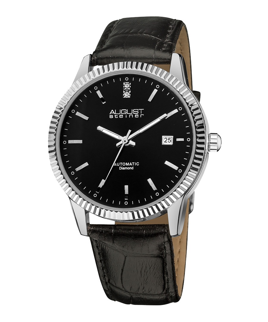 Black leather & diamond marker watch Sale - August Steiner