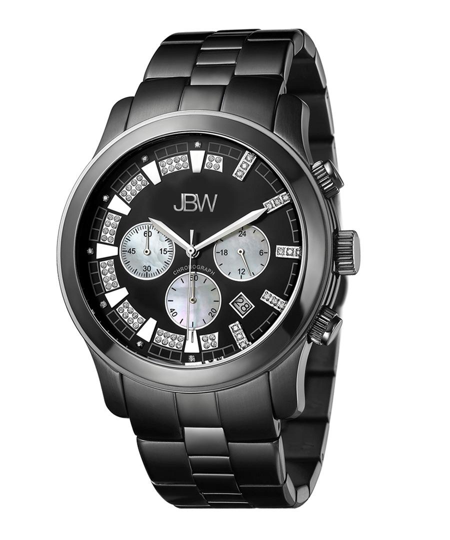 Delano black steel & diamond watch Sale - jbw
