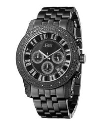 Krypton black steel & diamond watch