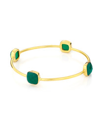 18ct gold-plated & green onyx bangle