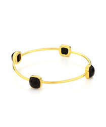 18ct gold-plated & black onyx bangle