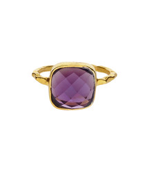 18ct gold-plated amethyst ring