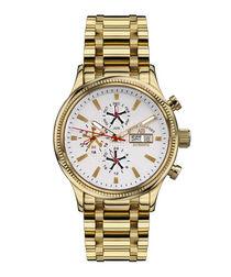Navigateur white dial gold-tone watch
