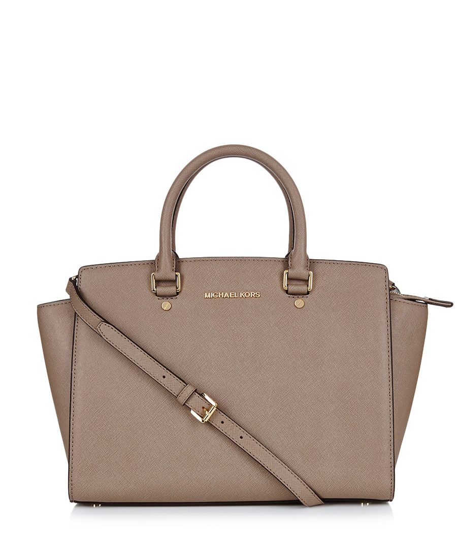 michael kors selma medium dark dune leather grab bag designer bags sale michael kors bags at. Black Bedroom Furniture Sets. Home Design Ideas